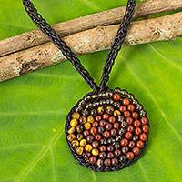 Multi-gemstone beaded pendant necklace, 'Hypnotize Me' - Smoky Quartz, Carnelian, and Onyx Crocheted Necklace