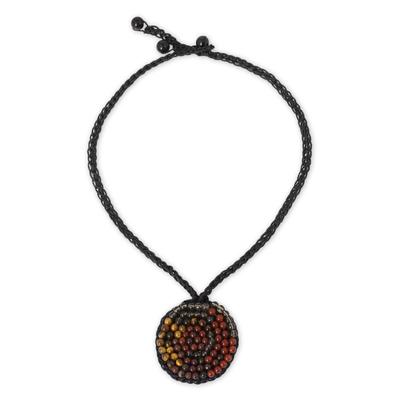 Smoky Quartz, Carnelian, and Onyx Crocheted Necklace