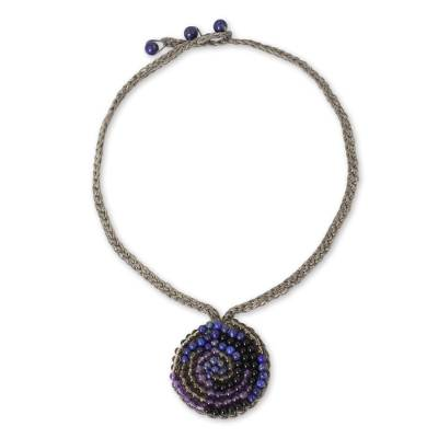 Spiral Pendant Necklace with Lapis Lazuli and Amethyst