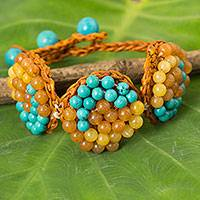 Beaded bracelet, 'Honey Enchantment' - Orange Cord Bracelet Beaded with Calcite and Quartz