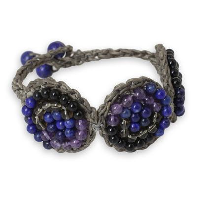Handmade Amethyst and Lapis Lazuli Crocheted Bracelet