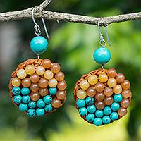 Beaded dangle earrings, 'Honey Enchantment' - Quartz and Blue Calcite Beaded Crocheted Earrings