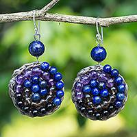 Multi-gemstone beaded dangle earrings, 'Fascinate Me' - Beaded Dangle Earrings with Amethyst and Lapis Lazuli