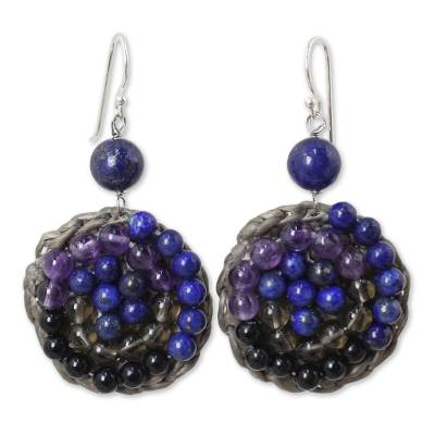 Beaded Dangle Earrings with Amethyst and Lapis Lazuli