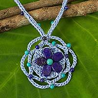 Lapis lazuli beaded pendant necklace, 'Ocean Flower' - Blue Crocheted Necklace with Lapis Lazuli and Calcite