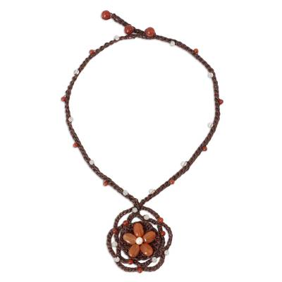 Carnelian Flower Necklace on Hand Crocheted Cords
