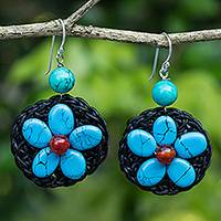 Carnelian and calcite beaded dangle earrings, 'Night Flower' - Hand Crocheted Earrings with Carnelian and Calcite