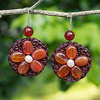 Carnelian beaded dangle earrings, 'Earth Flower' - Brown Dangle Earrings with Genuine Carnelian Flowers