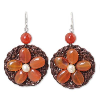 Brown Dangle Earrings with Genuine Carnelian Flowers