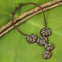 Multi-gem beaded necklace, 'Jazz Combo' - Quartz, Onyx and Unakite Crocheted Pendant Necklace