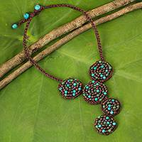 Multi-gem beaded necklace, 'Brown Jazz Combo' - Unique Multi-Gemstone Crocheted Brown Cord Necklace