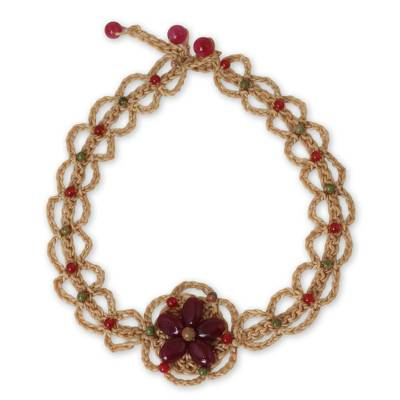 Artisan Crafted Necklace with Dark Pink Gemstone Flower
