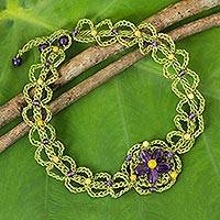 Amethyst flower necklace, 'Blossoming Stargazer' - Artisan Crafted Amethyst Beaded Necklace