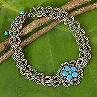 Beaded flower necklace, 'Blossoming Blue Stargazer' - Turquoise-colored Gems on Hand Crocheted Necklace