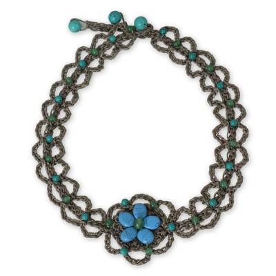 Turquoise-colored Gems on Hand Crocheted Necklace