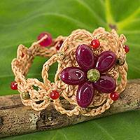 Beaded flower bracelet, 'Blossoming Stargazer' - Artisan Crafted Bracelet with Dark Pink Gemstone Flower