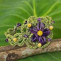 Amethyst flower bracelet, 'Blossoming Stargazer' - Artisan Crafted Amethyst Beaded Bracelet