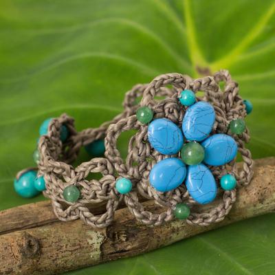 Beaded flower bracelet, 'Blossoming Blue Stargazer' - Turquoise-colored Gems on Hand Crocheted Thai Bracelet