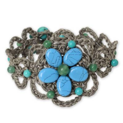Turquoise-colored Gems on Hand Crocheted Thai Bracelet