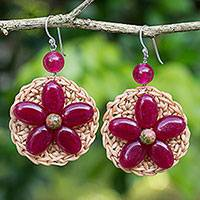 Beaded flower earrings, 'Blossoming Stargazer' - Artisan Crafted Earrings with Dark Pink Gemstone Flower