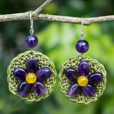 Amethyst flower earrings, 'Blossoming Stargazer' - Artisan Crafted Amethyst Beaded Earrings with Silver Hooks