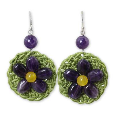 Artisan Crafted Amethyst Beaded Earrings with Silver Hooks