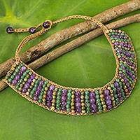 Unakite and amethyst beaded necklace, 'Ethnic Parallels' - Crocheted Choker Necklace with Unakite, Amethyst and Quartz