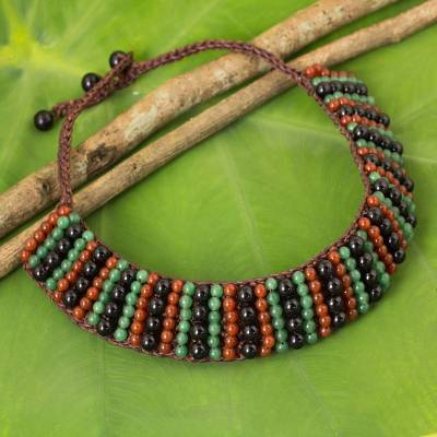 Carnelian and quartz beaded necklace, 'Ethnic Parallels' - Carnelian and Onyx Handmade Boho Choker Necklace