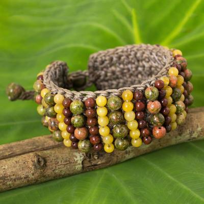 Unakite and jasper beaded bracelet, 'Ethnic Parallels' - Artisan Crafted Multi Gem Beaded Wristband Bracelet