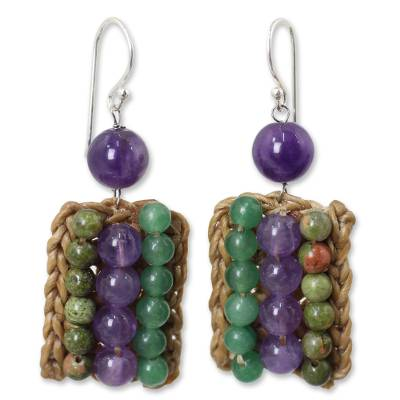 Crocheted Earrings with Unakite, Amethyst and Quartz