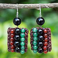 Carnelian and onyx beaded earrings, 'Ethnic Parallels' - Carnelian and Onyx Handmade Boho Silver Hook Earrings