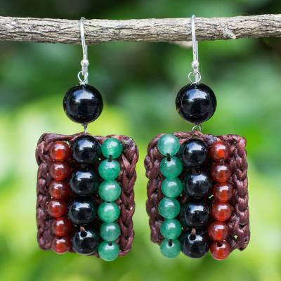 Carnelian and quartz beaded earrings, Ethnic Parallels
