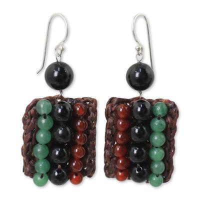 Carnelian and Onyx Handmade Boho Silver Hook Earrings