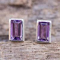 Amethyst stud earrings, 'Spring Lilac' - Classic Stud Earrings with Amethyst and Sterling 925 Silver