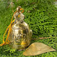 Brass wind bell, 'Elephants in the Wind' - Buddhist Brass Wind Chime Crafted by Hand in Thailand