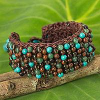 Multi-gem beaded bracelet, 'Brown Jazz Combo' - Quartz Jasper Calcite Hand Crocheted Wristband Bracelet