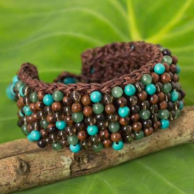 Multi-gem beaded bracelet, 'Brown Jazz Combo' - Quartz Jasper Calcite Hand Crocheted Wristband Bracelet