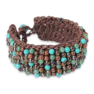 Quartz Jasper Calcite Hand Crocheted Wristband Bracelet
