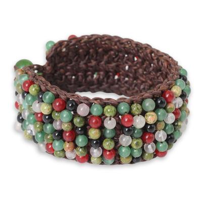 Multi-gem beaded bracelet, 'Jazz Combo' - Quartz Unakite Hand Crochet Wristband Bracelet