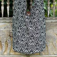 Cotton sling bag, 'Black Thai Goth' - Black and White Cotton Sling Shoulder Bag