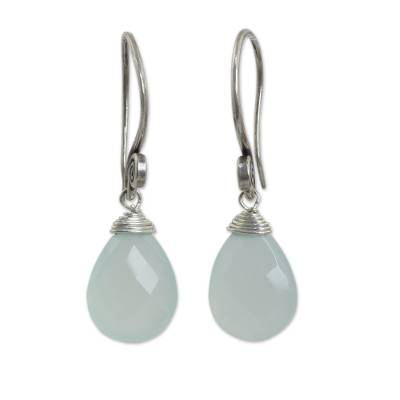 Chalcedony dangle earrings, 'Subtle' - Hand Made Thai Silver and Chalcedony Dangle Earrings