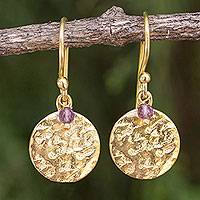 Gold plated amethyst dangle earrings, 'Purple Harvest Moon' - Artisan Crafted 24k Gold Plated Amethyst Earrings Thailand