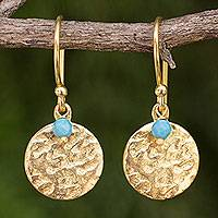 Gold plated dangle earrings, 'Aqua Harvest Moon'