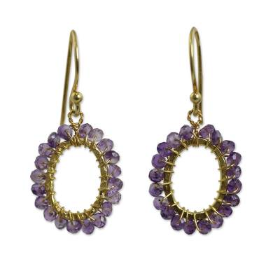 Gold plated amethyst dangle earrings, 'Treasure' - 24k Gold Plated Hand Knotted Amethyst Earrings from Thailand