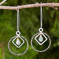 Gold plated labradorite dangle earrings, 'Cordial Embrace' - Fair Trade 24k Gold Plated Labradorite Earrings with Silver