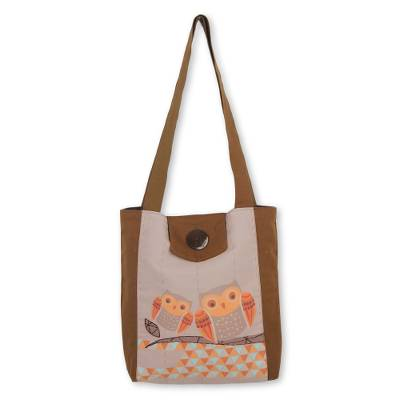 Cotton shoulder bag, 'Owl Time' - Unique Brown and Orange Owl Themed Shoulder Bag