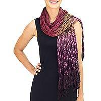 Tie-dyed scarf, 'Fabulous Orchid' - Hand Crafted Red-Purple Crinkled Scarf with Tie Dye Patterns