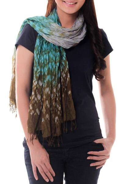 Tie-dyed scarf, 'Fabulous Tropics' - Blue Green Ombre Tie Dye Crinkled Scarf Crafted by Hand