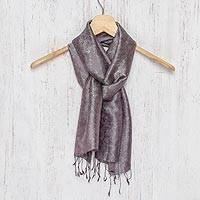 Rayon and silk blend scarf, 'Grey Purple Bouquet'