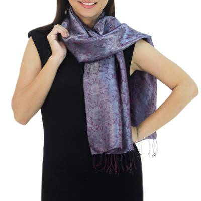 Rayon and silk blend scarf, 'Grey Purple Bouquet' - Two-tone Floral Pattern Hand Woven Scarf from Thailand